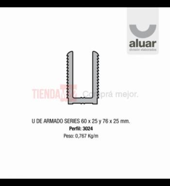 3024 - U DE ARMADO SERIES 60X25 Y 76X25 - PERFIL ALUAR