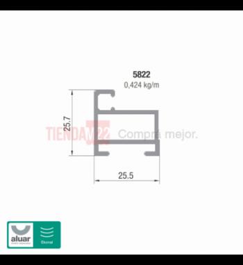 5822 - HOJA MOSQUITERO DE REBATIR DE 25MM NATUR- PERFIL ALUAR
