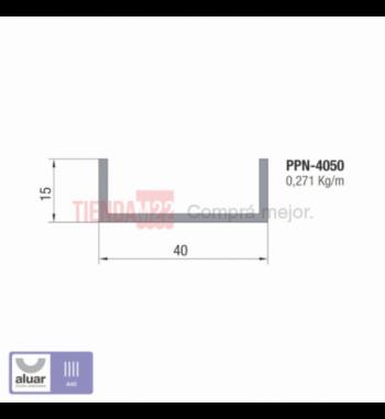 """PPN-4050 - PERFIL """"U"""" DESIGUALES 40X15  - PERFIL ALUAR"""