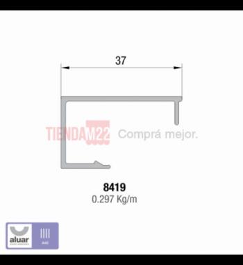 8419 - CONTRAVIDRIO RECTO 37MM   A40- PERFIL ALUAR