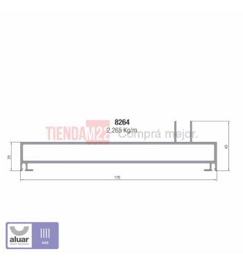 8264 - A40 - JAMBA 3 GUIAS NEGRO- PERFIL ALUAR