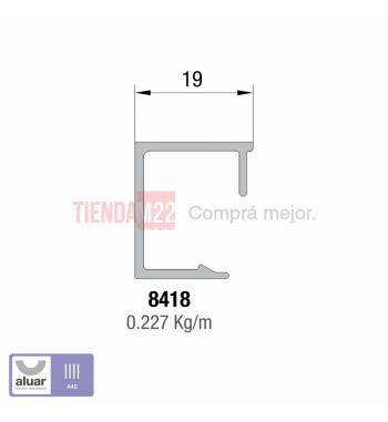 8418 - A40 - CONTRAVIDRIO RECTO 19MM - PERFIL ALUAR
