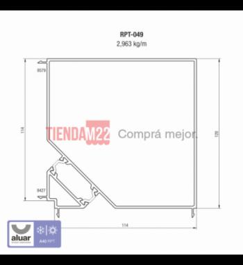 RPT-049 - RPT-ACOPLE 90° PARA MARCOS DE 114 MM- PERFIL ALUAR
