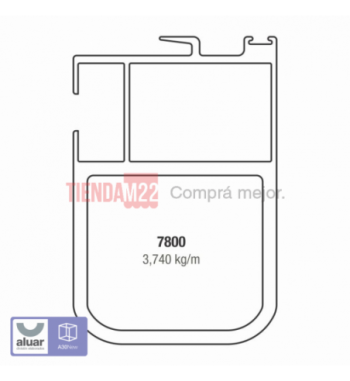 7800 - PARANTE CENTRAL DE 100 MM P/VIDRIO SIMPLE- PERFIL ALUAR